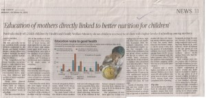 edu. of mother directly linked to better nutri..